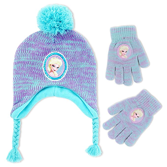 Amazoncom Disney Frozen Elsa Hat And Gloves Cold Weather Set
