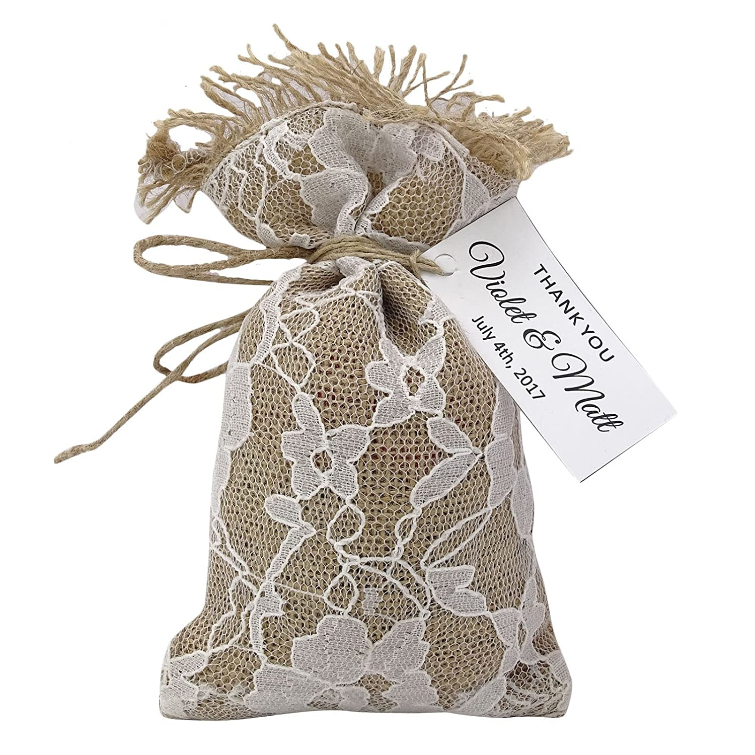 40 Bags 40 Burlap Drawstring Gift Bag Small Jute Pouch Wedding Party Rustic Favor Bags With Personalized Paper Tags 4  x 6.5