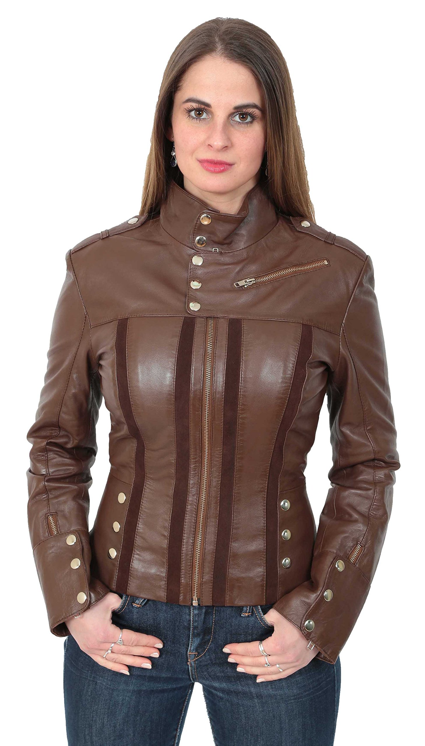 Womens Slim Fit Biker Style Brown Real Leather Jacket Studded Suede Feature Lily (X-Large) by A1 FASHION GOODS