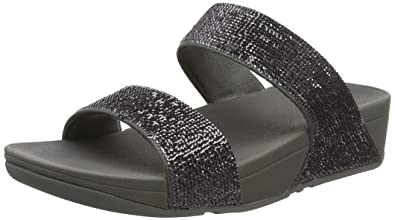 09bcf83e41 Fitflop Women's Electra Micro Slide Open Toe Sandals, Grey (Pewter), 3 UK