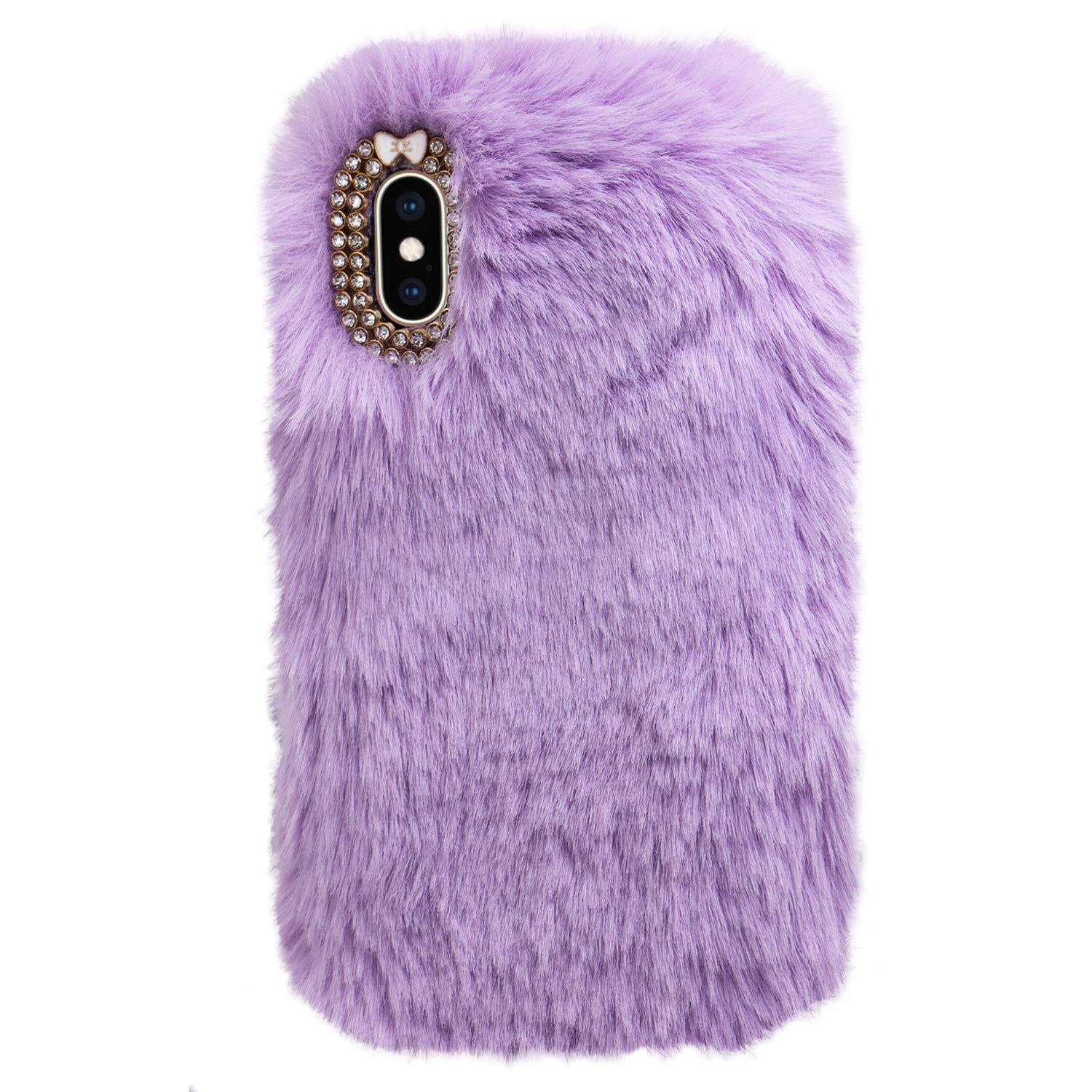 Soft Cute Plush Phone Case for iPhone 11,Moiky White Girly Warm Winter Furry Kawaii Shell with Glitter Crystal Bowknot Rhinestone Shockproof Silicone TPU Protective Case