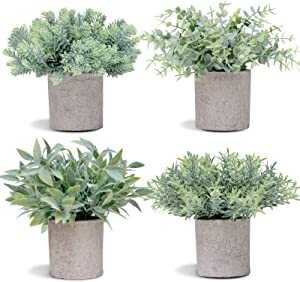 COCOBOO 4Pcs Mini Artificial Desk Plant Potted Eucalyptus Plants Plastic Fake Green Rosemary Plant for Home Decor Office Desk Shower Room Decoration
