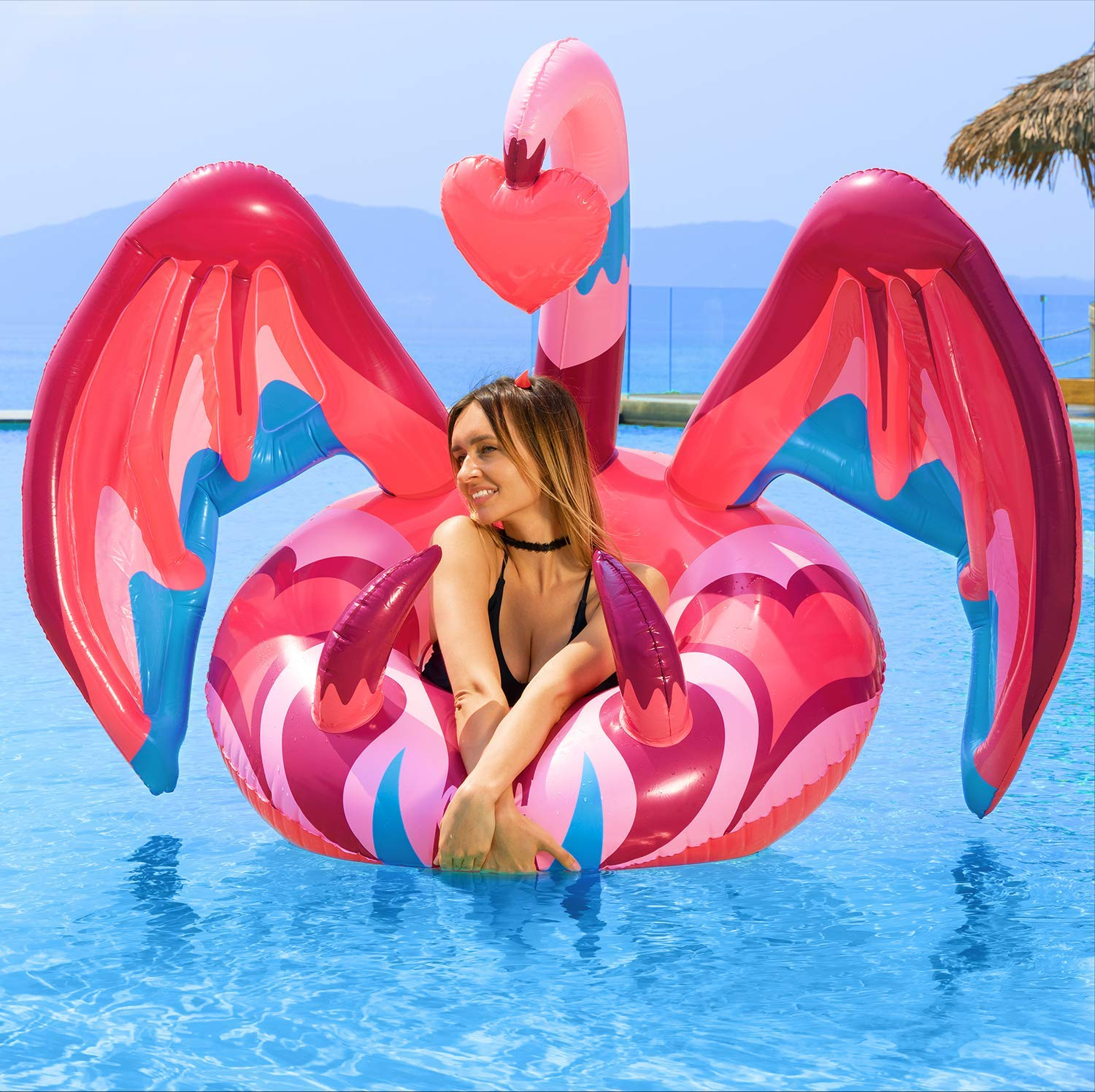 muscccm Inflatable Pool Float Swimming Pool Party Decorations Summer Lounge Raft with Unreal Unique imp Wings Decorations Quick-Fill Valves Summer Beach Toy for Kids and Adults