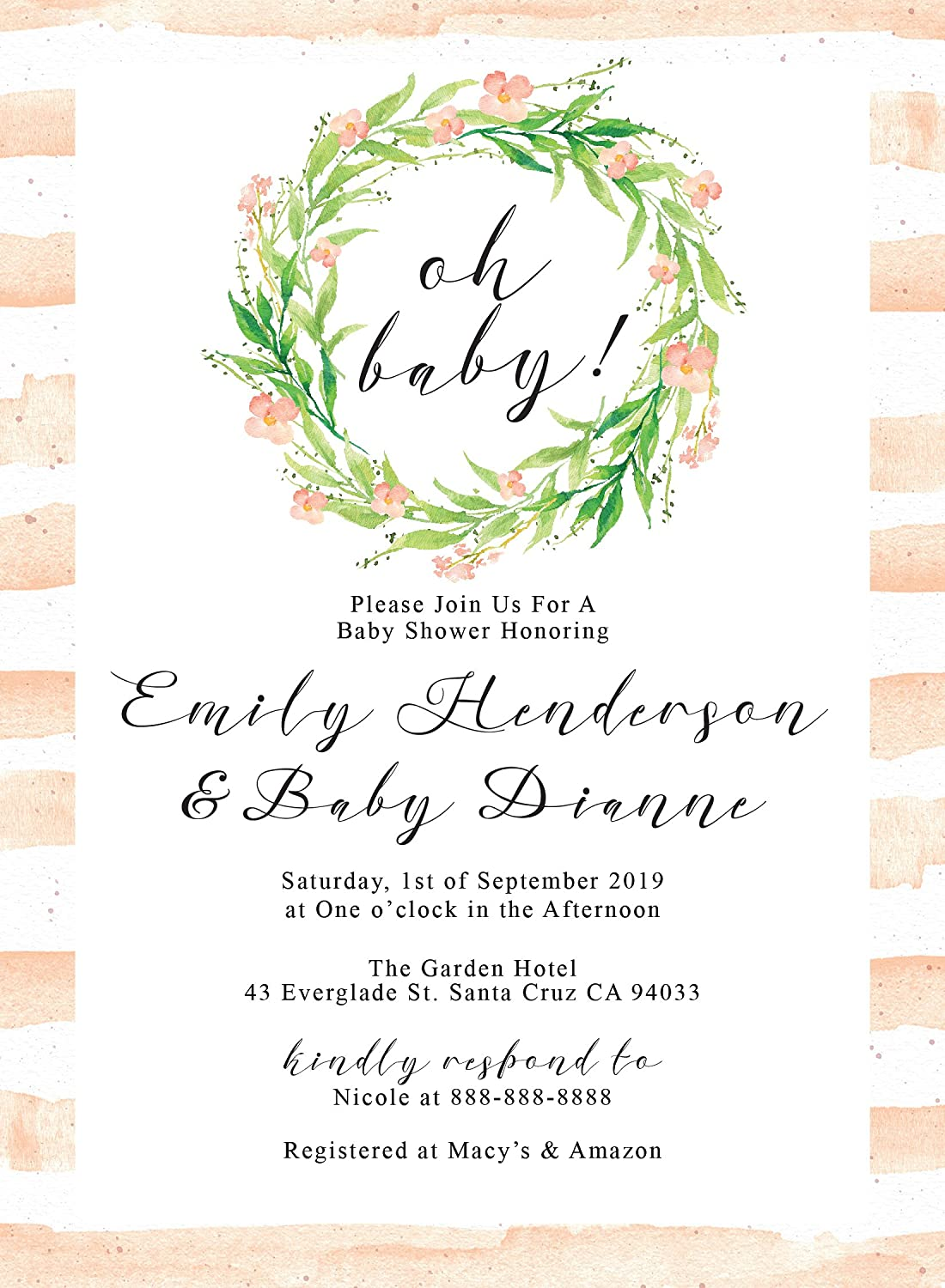 "Amazon.com: ""Oh Baby!"" Baby Shower Invitation with Envelopes for Boys and  Girls 