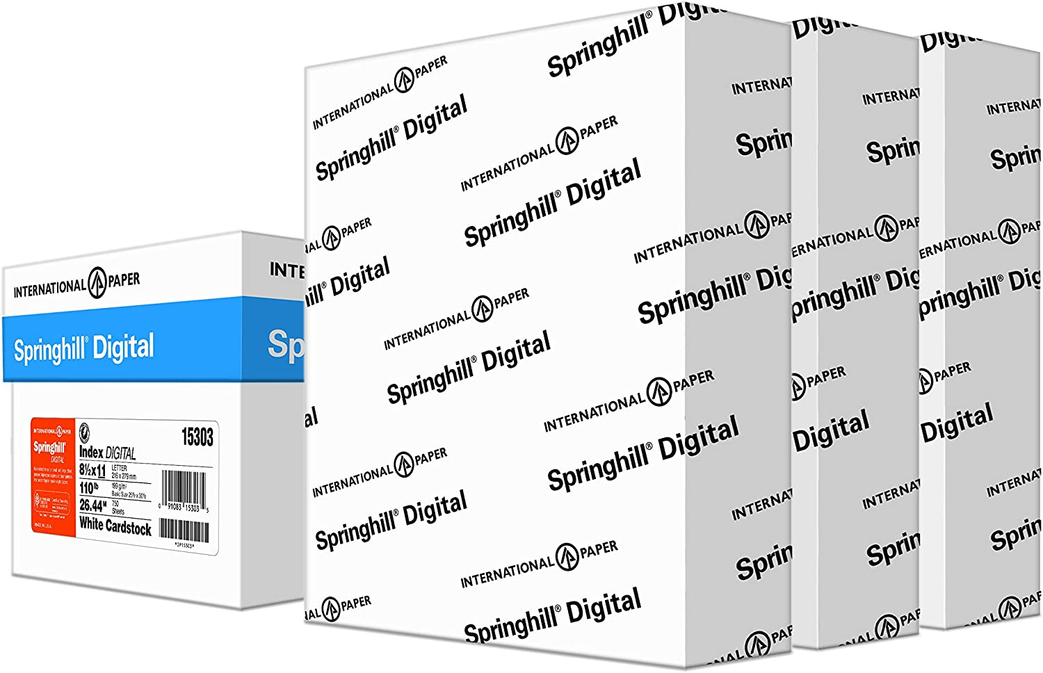 """Springhill White 110lb, 8.5"""" x 11"""" Cardstock Paper, 199gsm, 750 Sheets (3 Reams) – Premium Heavy Cardstock Printer Paper for Greeting Cards, Flyers, Scrapbooking, Brochures & More – 015303C"""