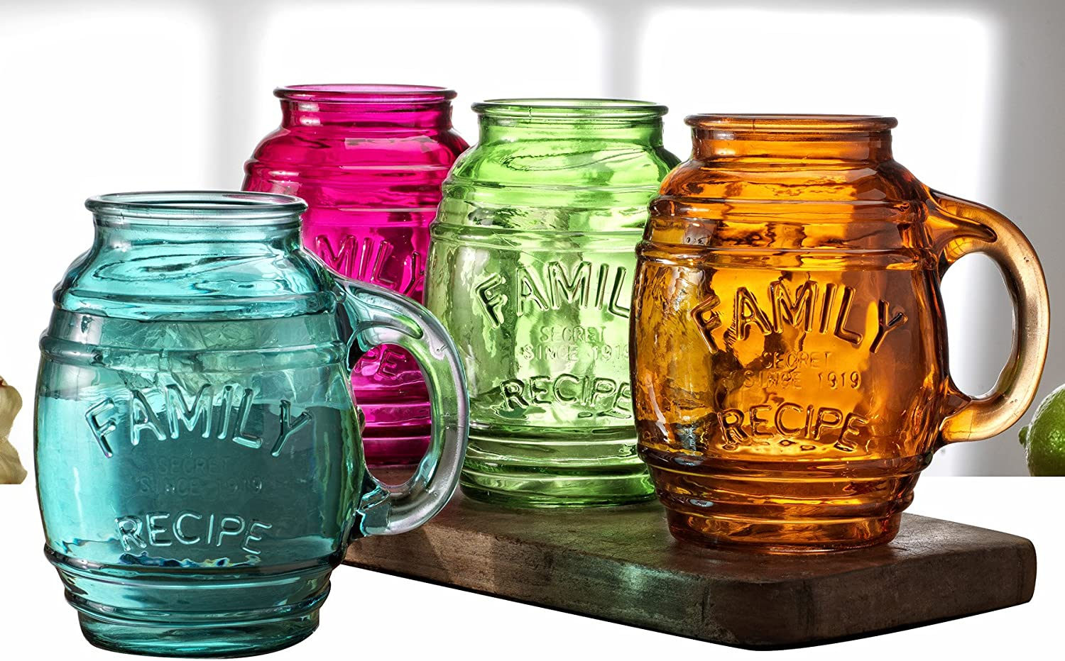 Circleware Family Recipe Glass Barrel Mugs, Set of 4, Assorted Colors, Glassware Drinking Glasses for Bar Liquor, Beer and Beverage Drinks, 26 oz