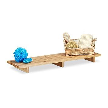 Relaxdays Badewannenablage Bambus Einteiliges Wannenbrett Hxbxt 6