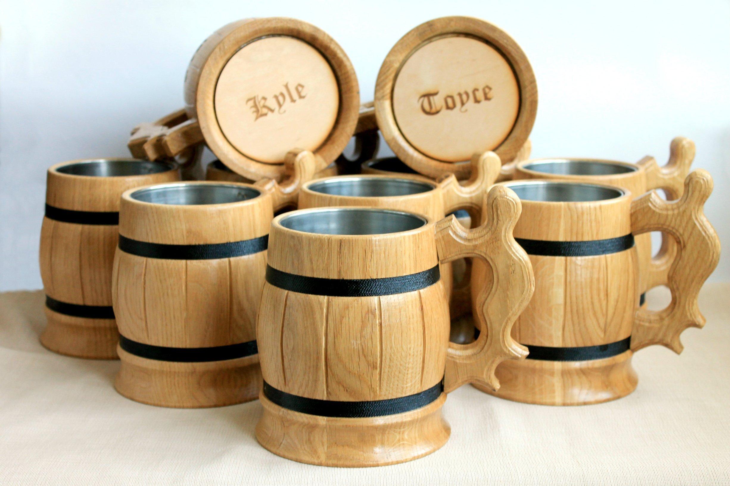 Set of 10 Personalized Wooden Beer Mugs Exclusive Personalized wooden beer mug wooden ber mug Personalized mug wedding gift Groomsman mug
