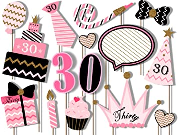 30th Birthday Party Black and Gold Photo Booth Props Kit 20 Pack Party Camera Props Fully Assembled Birthday Galore