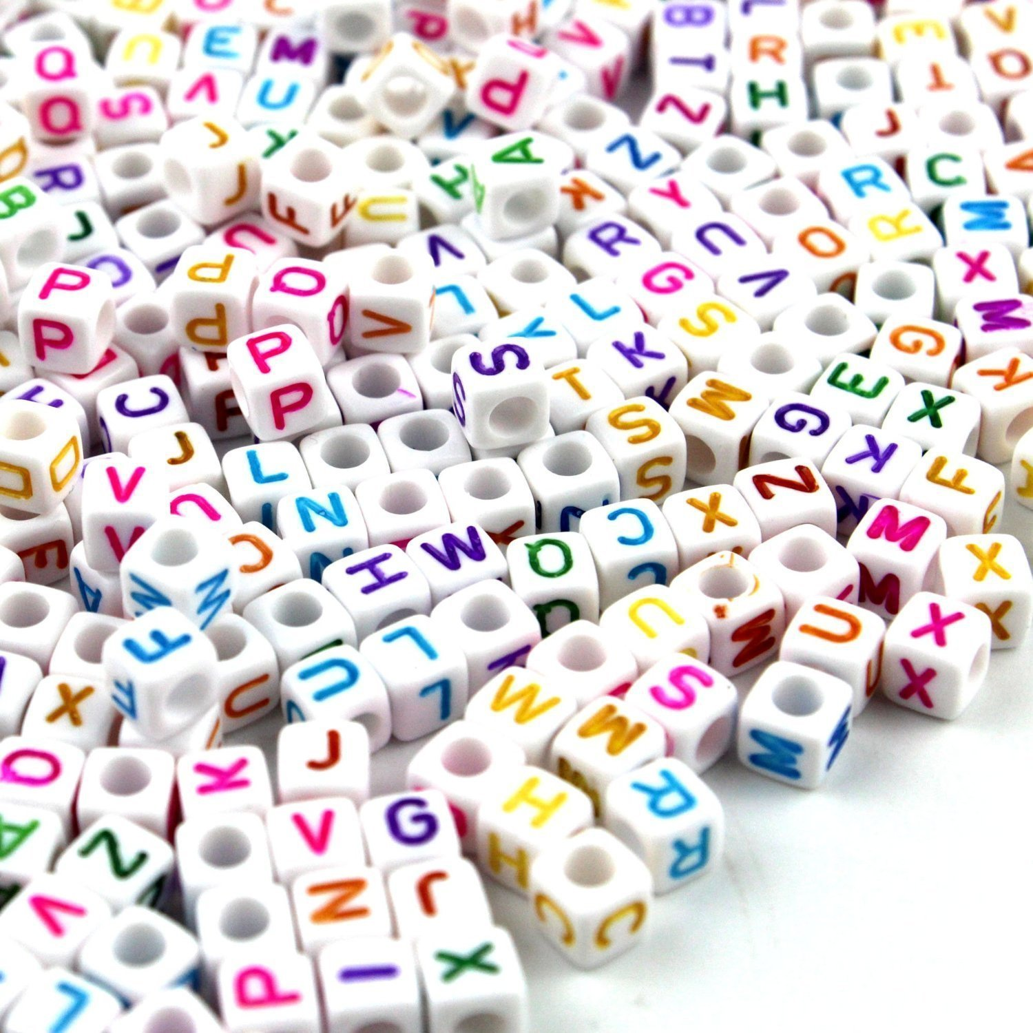 500PCS Size 12mm Acrylic Alphabet Letter''A-Z'' Cube Beads for Jewelry Making, Bracelets, Necklaces, Key Chains and Kids Jewelry by YURROAD