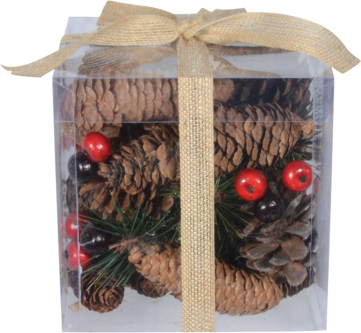 TenWaterloo Christmas and Holiday Pine Cones and Berries Bowl Filler//Vase Filler