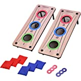 GoSports 2-in-1 Bean Bag Toss and Washer Toss Combo Outdoor Game - Fun for Kids and Adults - Includes 2 Double Sided Game Boa