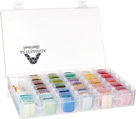Artesannia 850 yardas de hilo de bordado de colores DMC con caja de almacenamiento organizador, kits