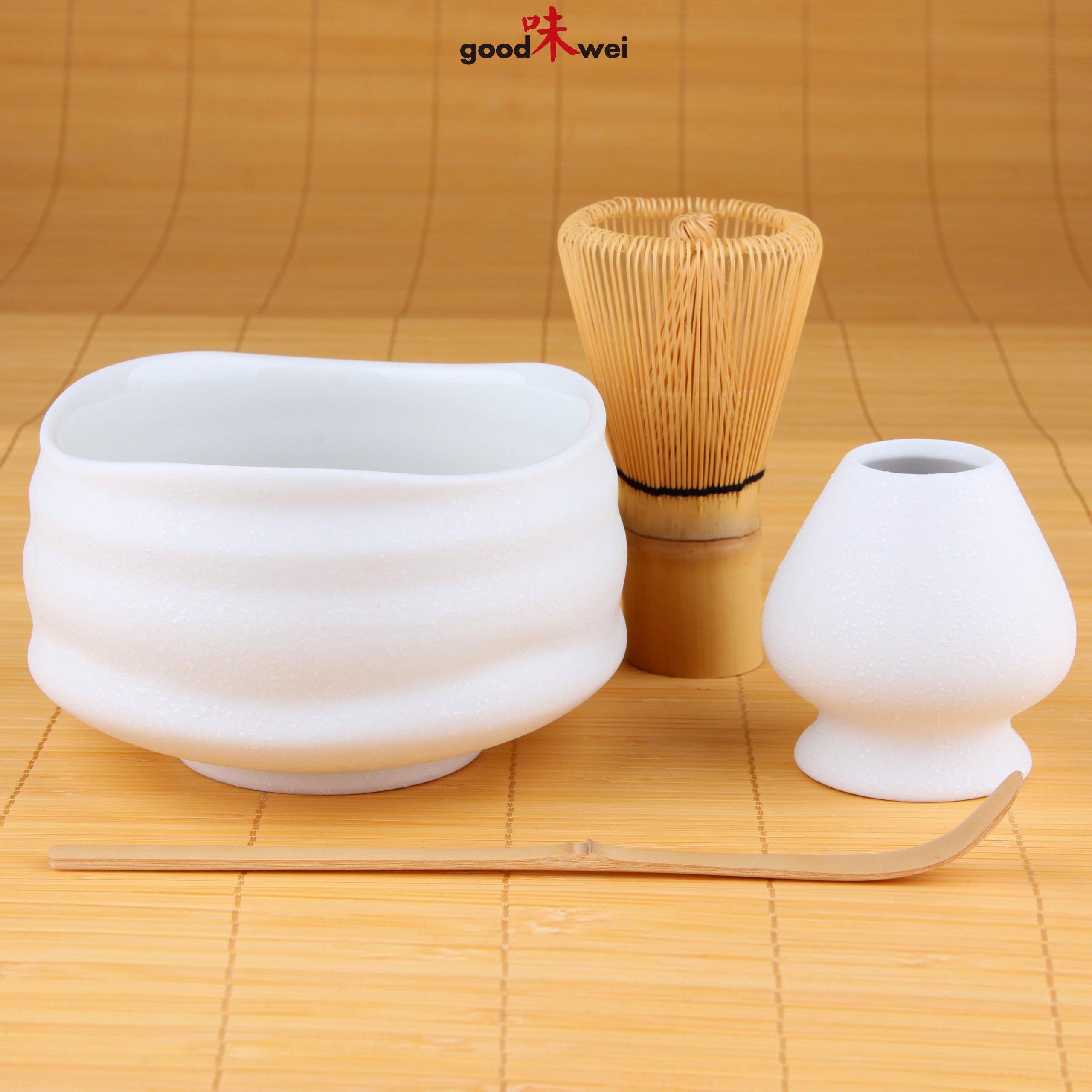 Goodwei Premium Matcha Tea Set ''Miyuki'' - Ceremonial Bowl Chawan, Whisk and Holder - Gift Box (80)