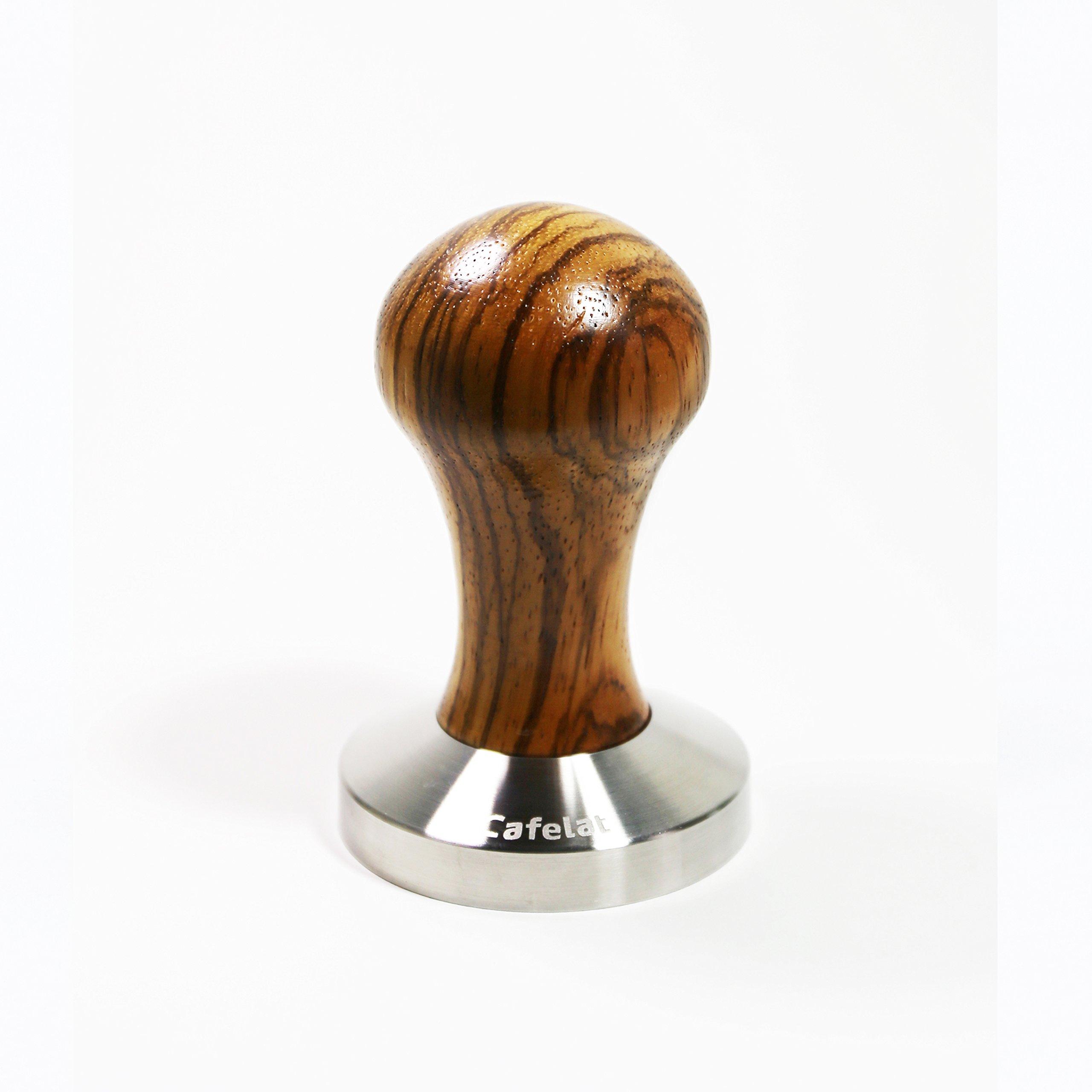 Cafelat Zebra Wood Tamper (58.35mm Flat) by Cafelat
