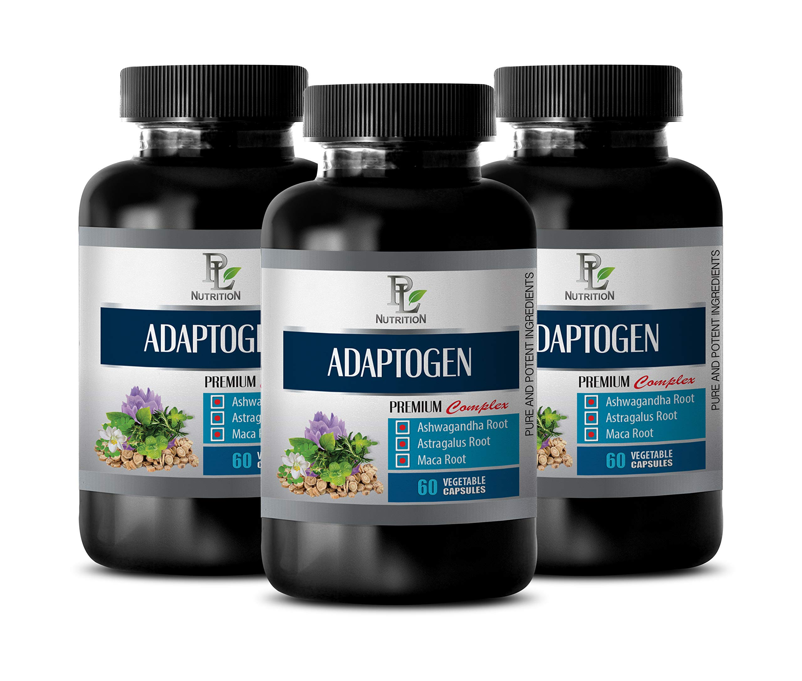 Brain Support Supplement Improve Memory Focus and Brain Function - ADAPTOGEN Premium Complex - Pure and Potent Ingredients - maca Root Capsules for Fertility - 3 Bottles 180 Vegetable Capsules