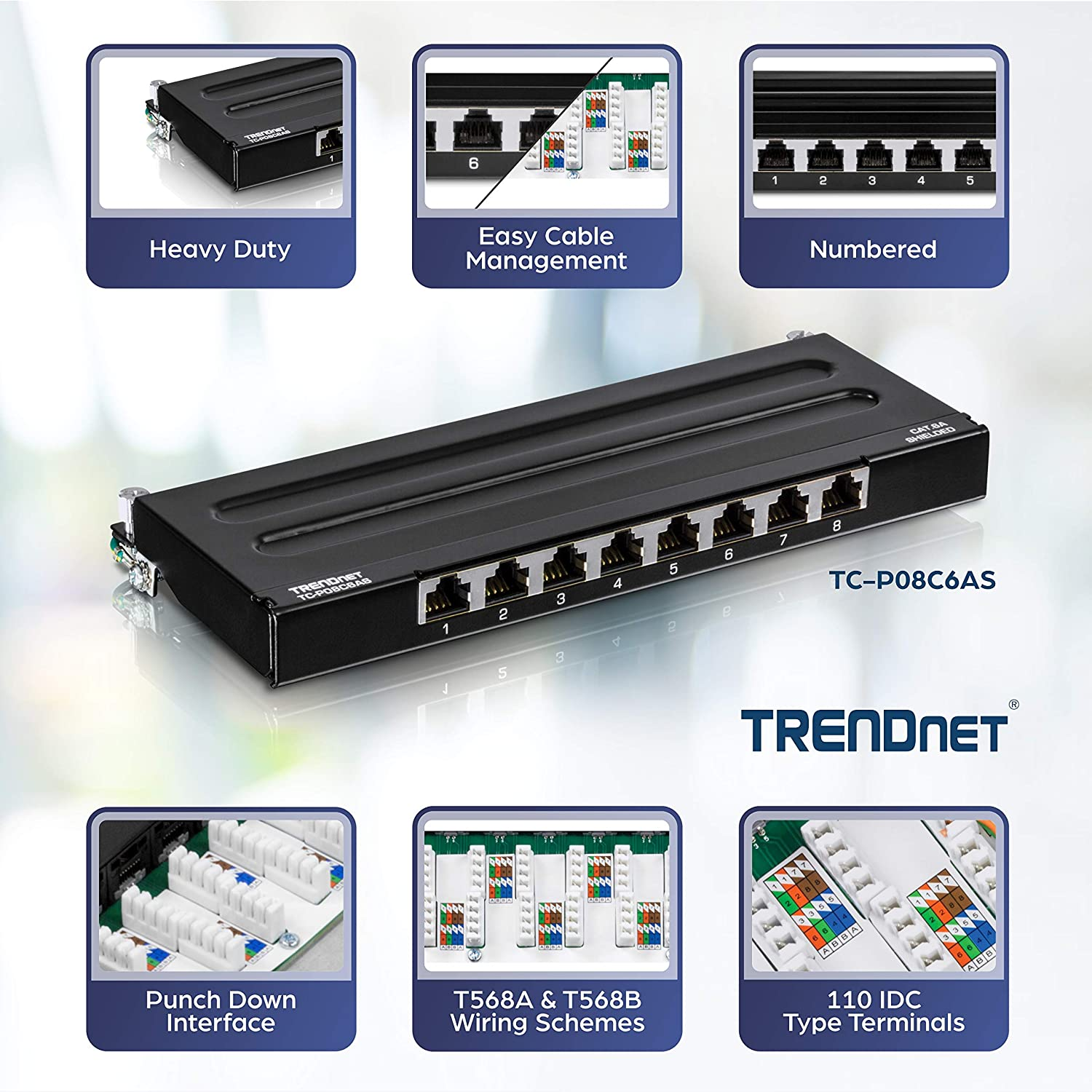 NPP1U24 Compatible 110 and Krone Type Tools and T568A and T568B Wiring V7 24 Port Cat6 Rack Mount Patch Panel