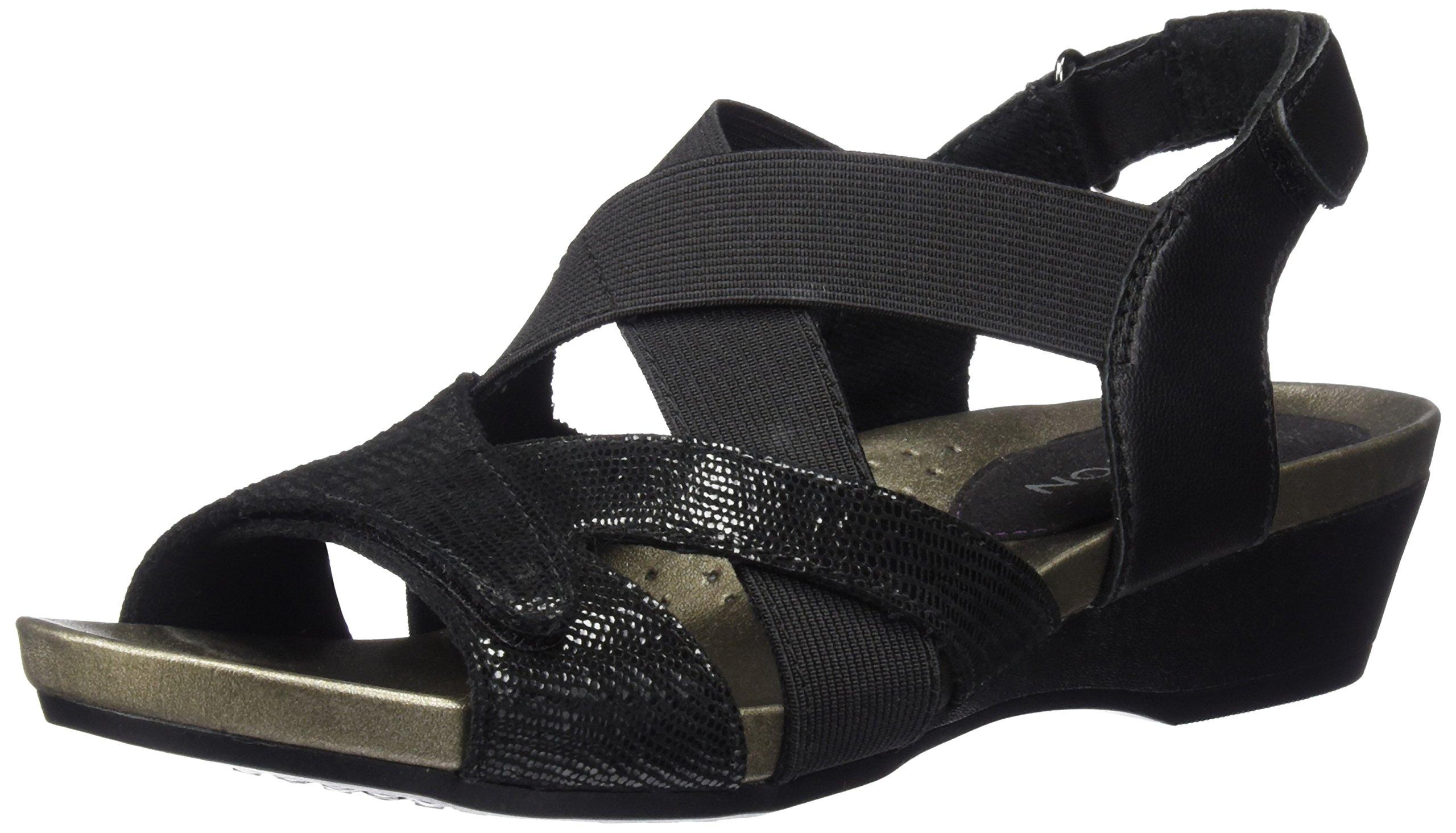 Aravon Women's Standon X Strap Heeled Sandal, Black, 6 D US