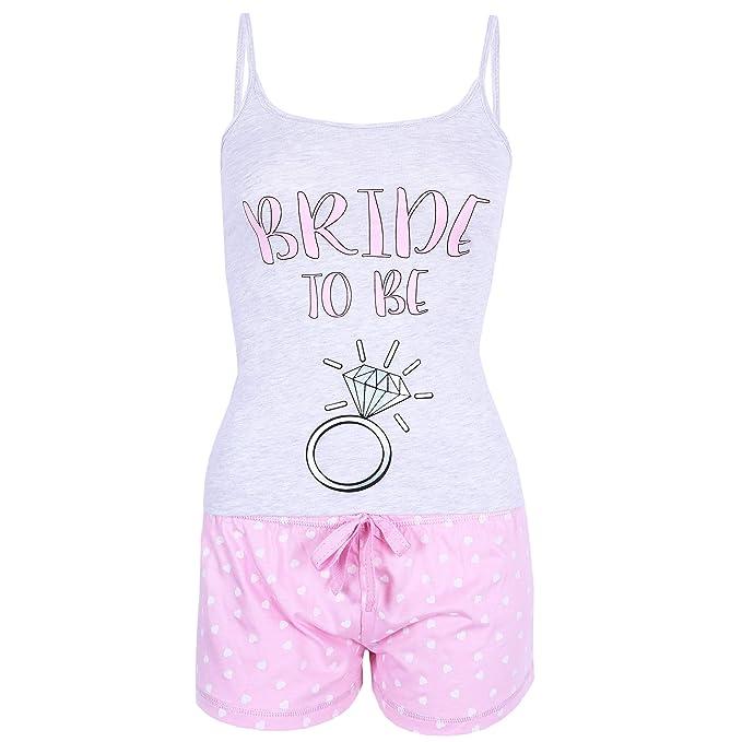 7365779659597 Love to Lounge Grey Top   Pink Shorts Pyjama Set Ladies Bride to Be UK 12