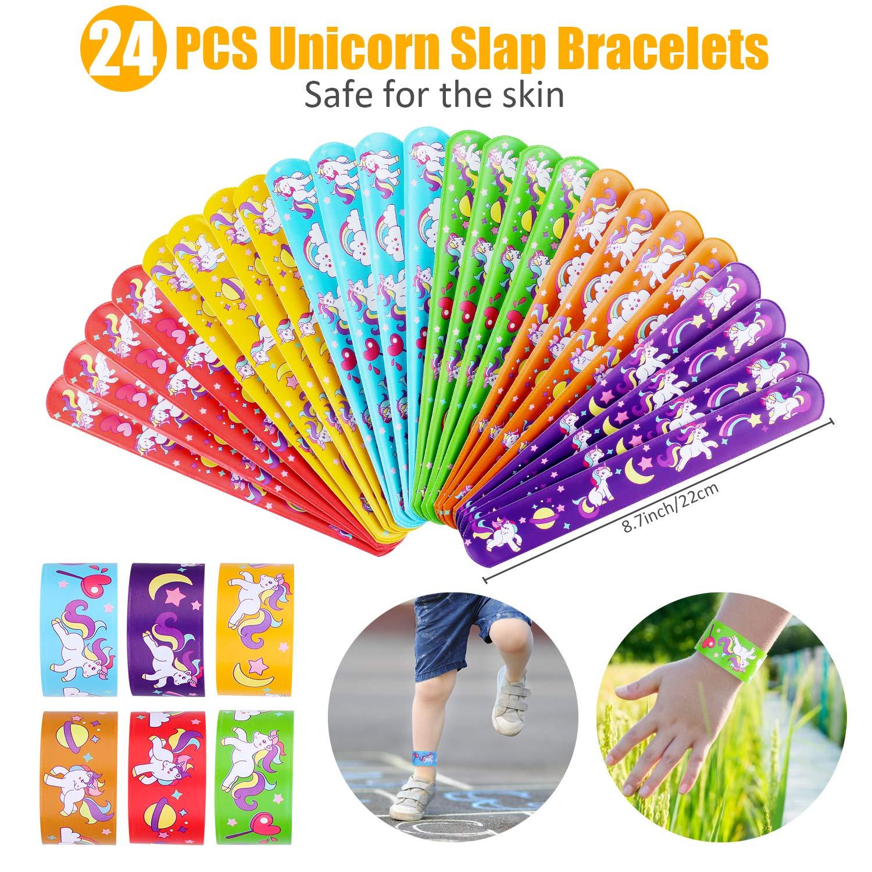 Unicorn Party Favors Supplies, Aywewii 72 Pcs Unicorn Party Favors for Kids Boys Girls, Unicorn Keychains, Unicorn Slap Bracelets, Unicorn Rings,Unicorn Stampers,Unicorn Birthday Party Supplies