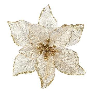 Gosear 20 Stk Xmas Glitter Kunstliche Blumen Ornamente Dekorationen