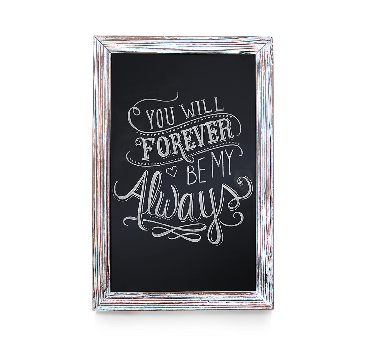 "HBCY Creations Rustic Whitewashed Magnetic Wall Chalkboard, Extra Large Size 20"" x 30"", Framed Decorative Chalkboard - Great for Kitchen Decor, Weddings, Restaurant Menus and More! … (20"" x 30"")…"