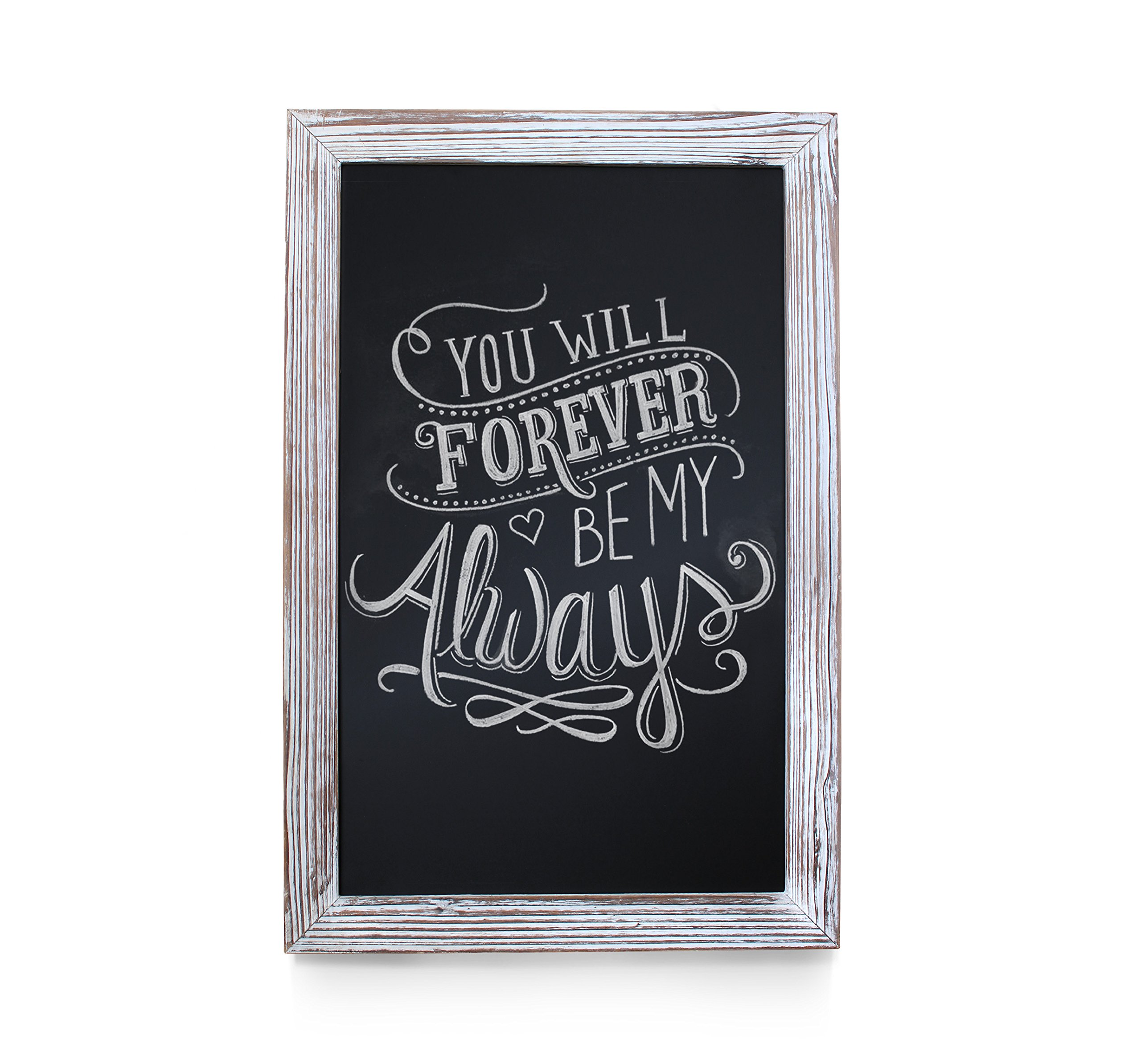 Rustic Whitewashed Magnetic Wall Chalkboard, Extra Large Size 20'' x 30'', Framed Decorative Chalkboard - Great for Kitchen Decor, Weddings, Restaurant Menus and More! … (20'' x 30'')