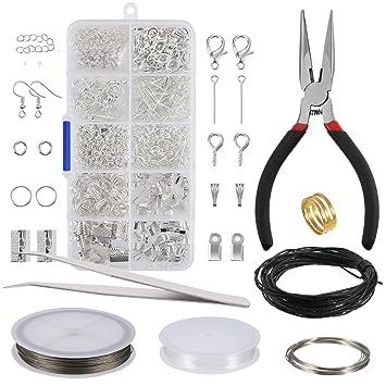 6830fd06f92b Kit de Hacer Bisutería Kit de Reparación de Joyería Kit de Herramientas de  Principiante y Hacer Accesorios de Joyería Incluye Alicates