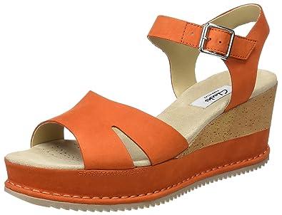 f2b2ebbac87d Clarks Women s Akilah Eden Nubuck Orange Leather Fashion Sandals - 4.5  UK India (37.5