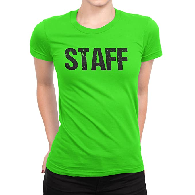 Amazon Com Nyc Factory Ladies Neon Green Staff T Shirt Front Back