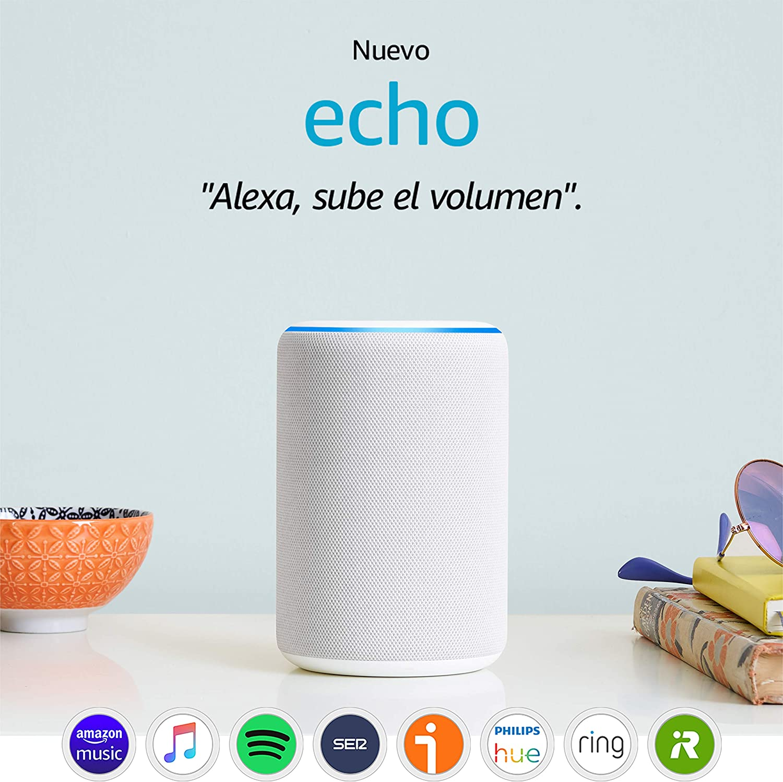 Nuevo Amazon Echo (3.ª generación) - Altavoz inteligente con Alexa - tela de color gris claro