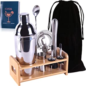 Slitree Professional Bartender Kit 8 Pcs, Bartending Kit Stainless Steel Drink Shakers,Premium Bar Tool Set with Stylish Bamboo Stand&Recipes&Bag,Perfect Home Martini Cocktail Shaker Set(Silver)