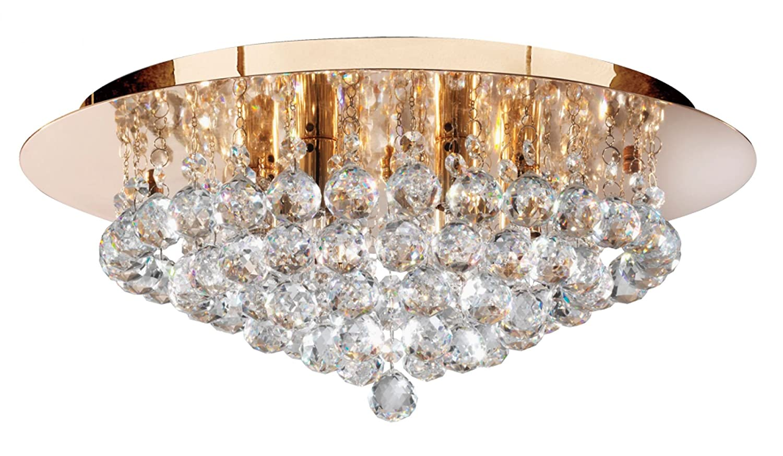 Searchlight Hanna 6 Light Semi-Flush Polished Gold Crystal Ball ...