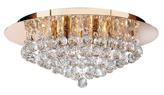 Kronleuchter Gold Kristall ~ Searchlight hanna semi flush light gold poliert kristall