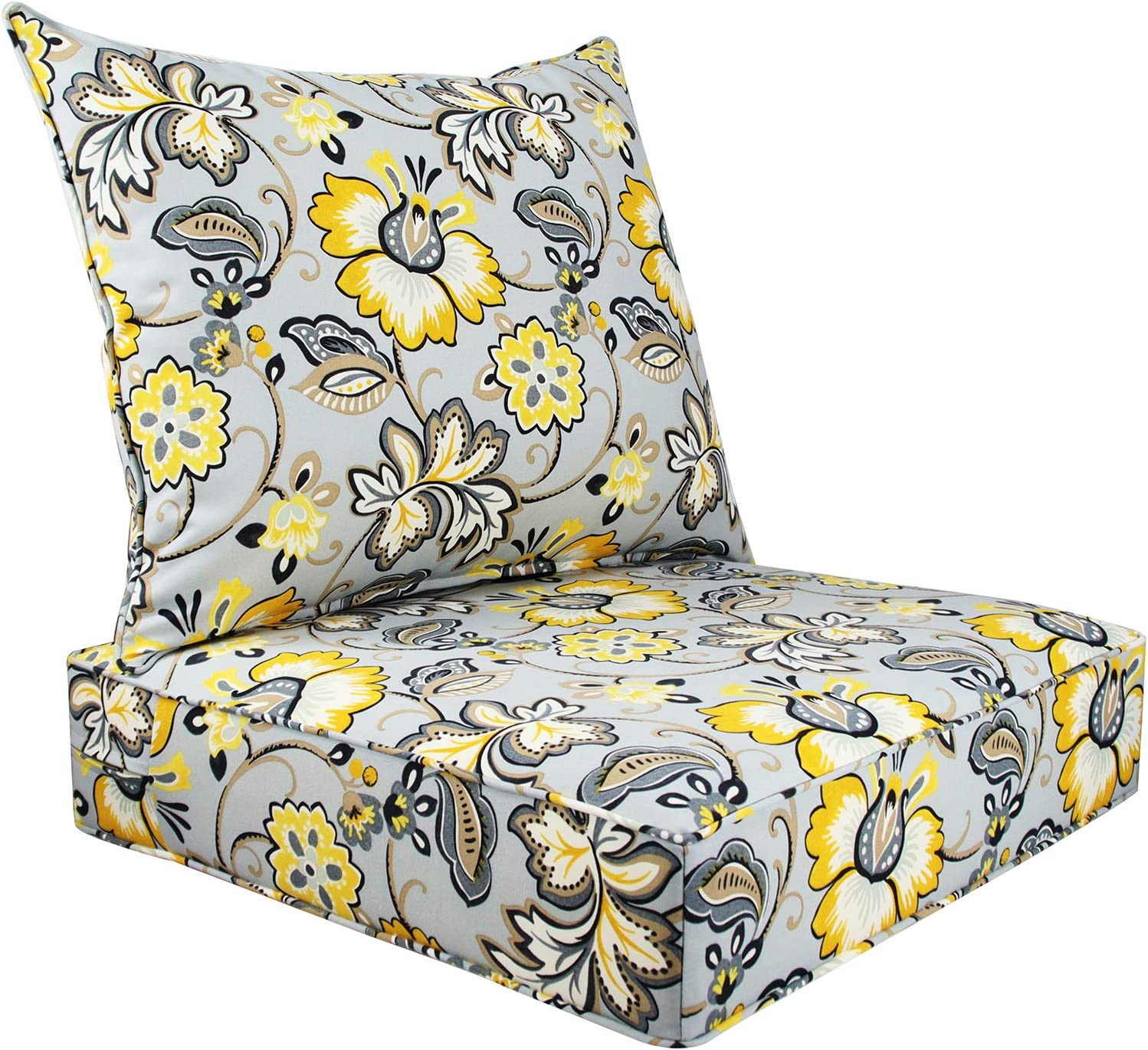 Bossima Indoor/Outdoor Deep Seat Chair Cushion Set, Spring/Summer Seasonal Replacement Cushions (Flower Prints Grey)