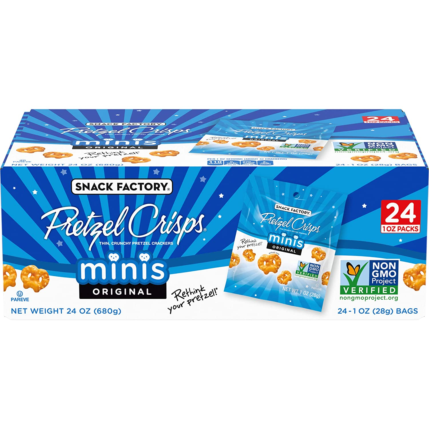 Snack Factory Pretzel Crisps Minis Original Flavor, Snack Packs Individual Sized, 24 Count