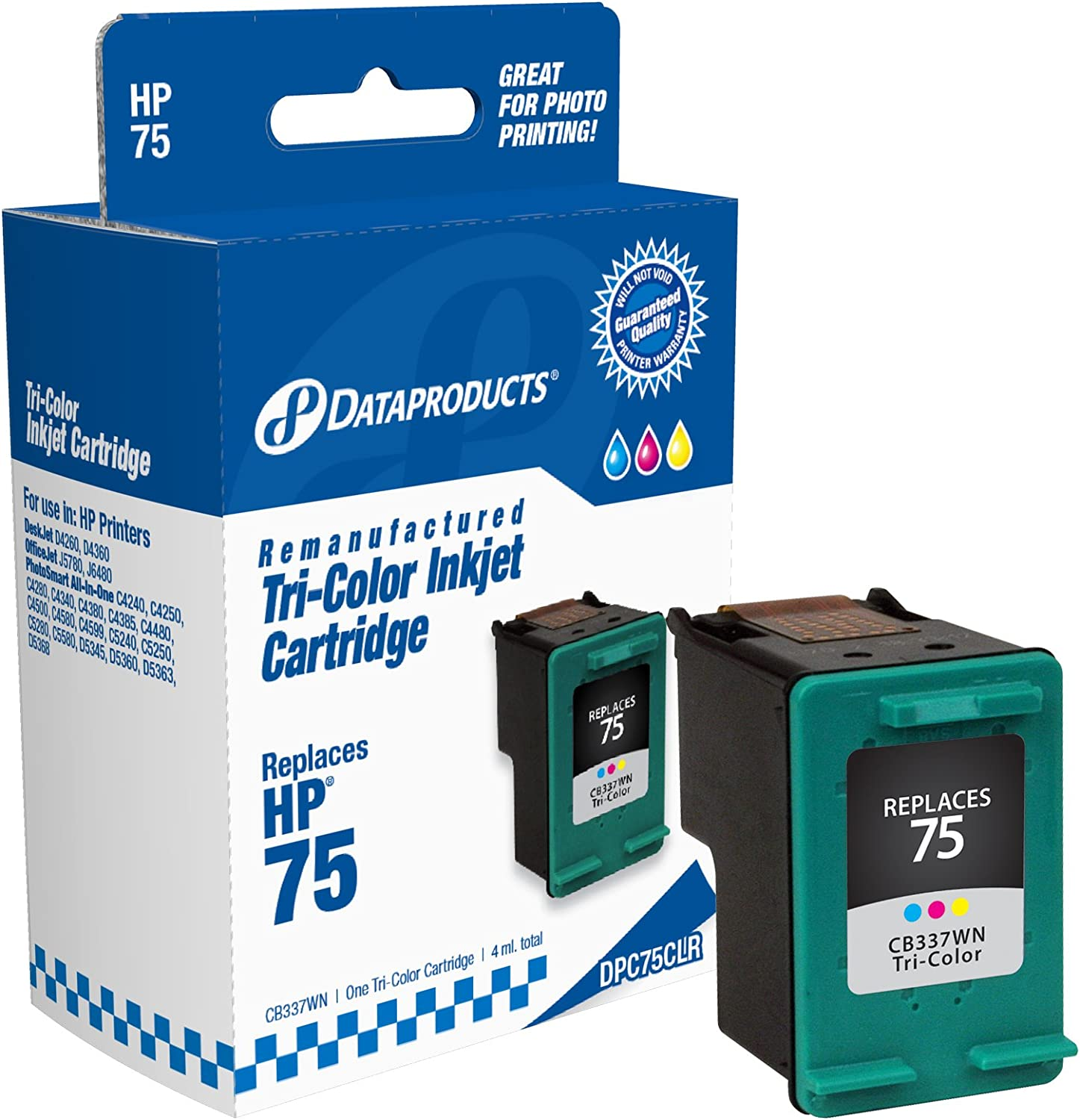 Dataproducts DPC75CLR Remanufactured Ink Cartridge Replacement for HP #75 (CB337WN) (Tri-Color)