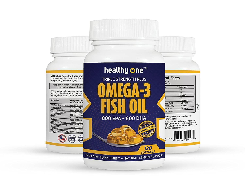 Amazon.com: Triple Strength Omega 3 Fish Oil | 800mg Capsule | 400mg EPA, 300mg DHA | 120 Gel Capsules | Burpless: Health & Personal Care