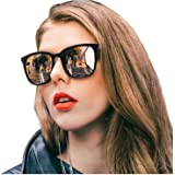 SIPHEW Polarized Sunglasses for Women, Mirrored Sunglasses-Fashion Oversized Eyewear with UV400 Protection