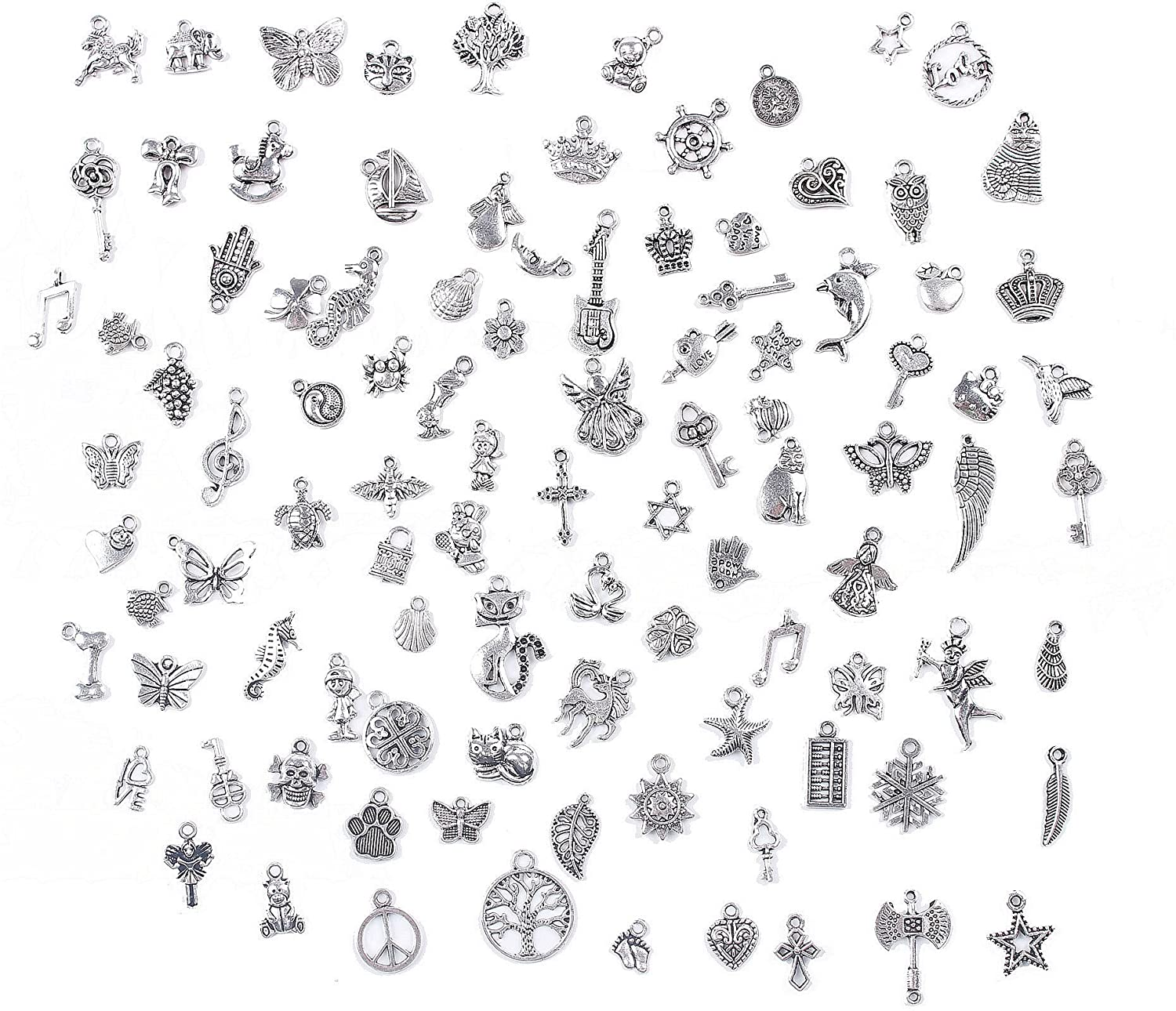 BIHRTC Pack of 100 Antique Silver Mixed Charms Pendants DIY Handmade Accessories for Crafting,Bracelet Necklace Jewelry Findings Jewelry Making Accessory LTD
