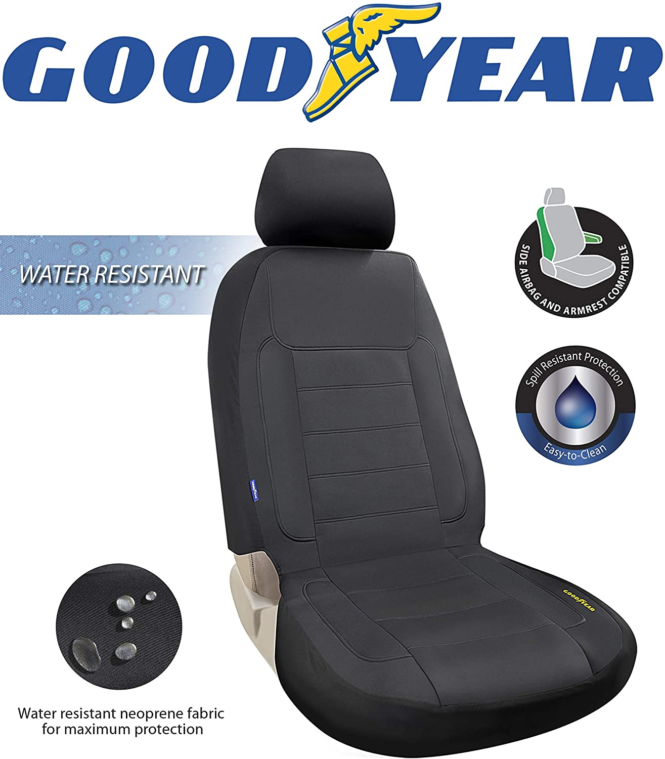 Goodyear GY1247 \ Water Resistant Car Seat Cover \ 100% Pure Neoprene Fabric for Maximum Protection \ Fits Most Vehicles \ Headrest Cover 10�H x 11�W \ Seat 46�H x 18�W \ Side Airbag Compatible
