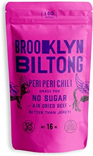 product image for Brooklyn Biltong - Air Dried Grass Fed Beef Snack, South African Beef Jerky - Whole30 Approved, Paleo, Keto, Gluten Free, Sugar Free, Made in USA - 16 oz. Bag (Peri Peri)