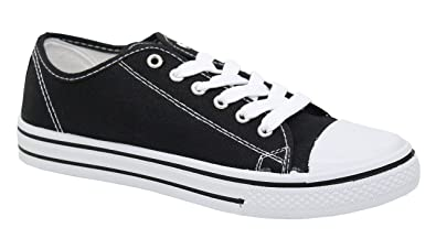 521ffce534ae Ladies Women Girls Flat Lace Up Canvas Plimsolls Trainer Skater Pumps Shoes  Size