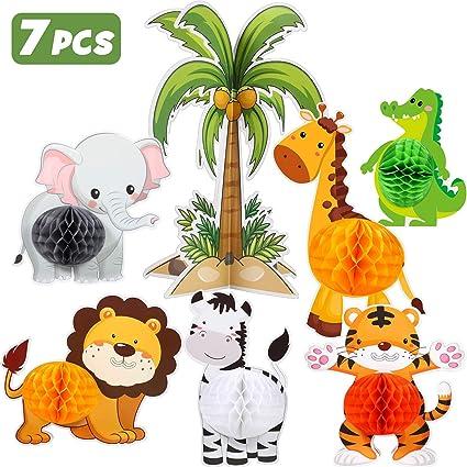 Amazon.com: Blulu 7 piezas Jungle Animals centros de mesa ...