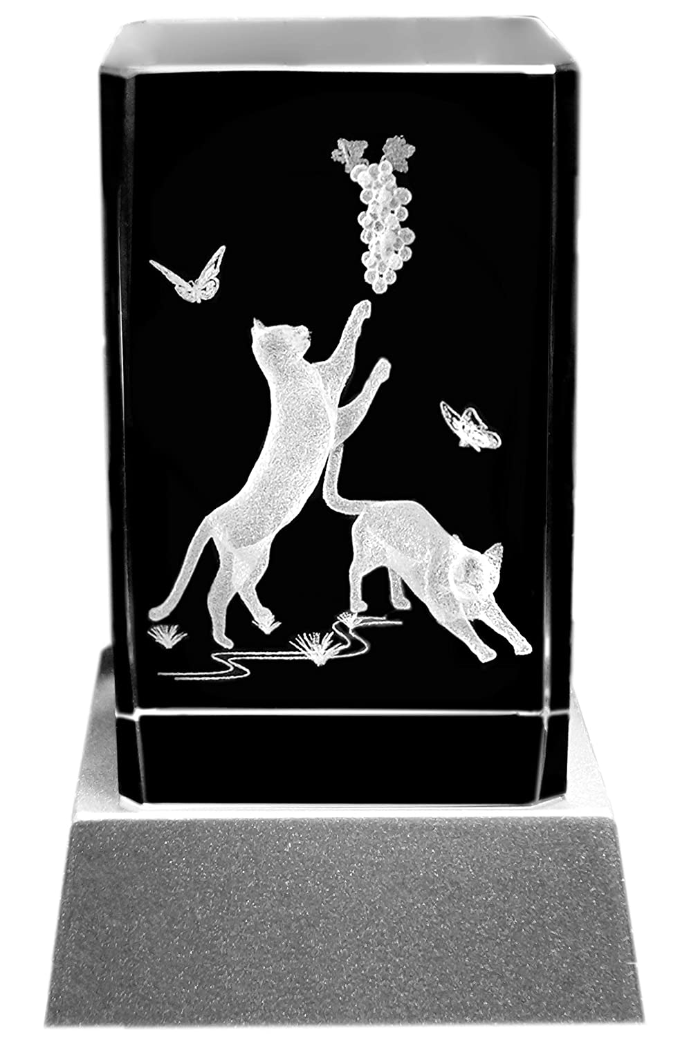 Kaltner Präsente Mood Light - a very special gift: LED candle / crystal glass block / 3D laser engraving playing cats Cat babies