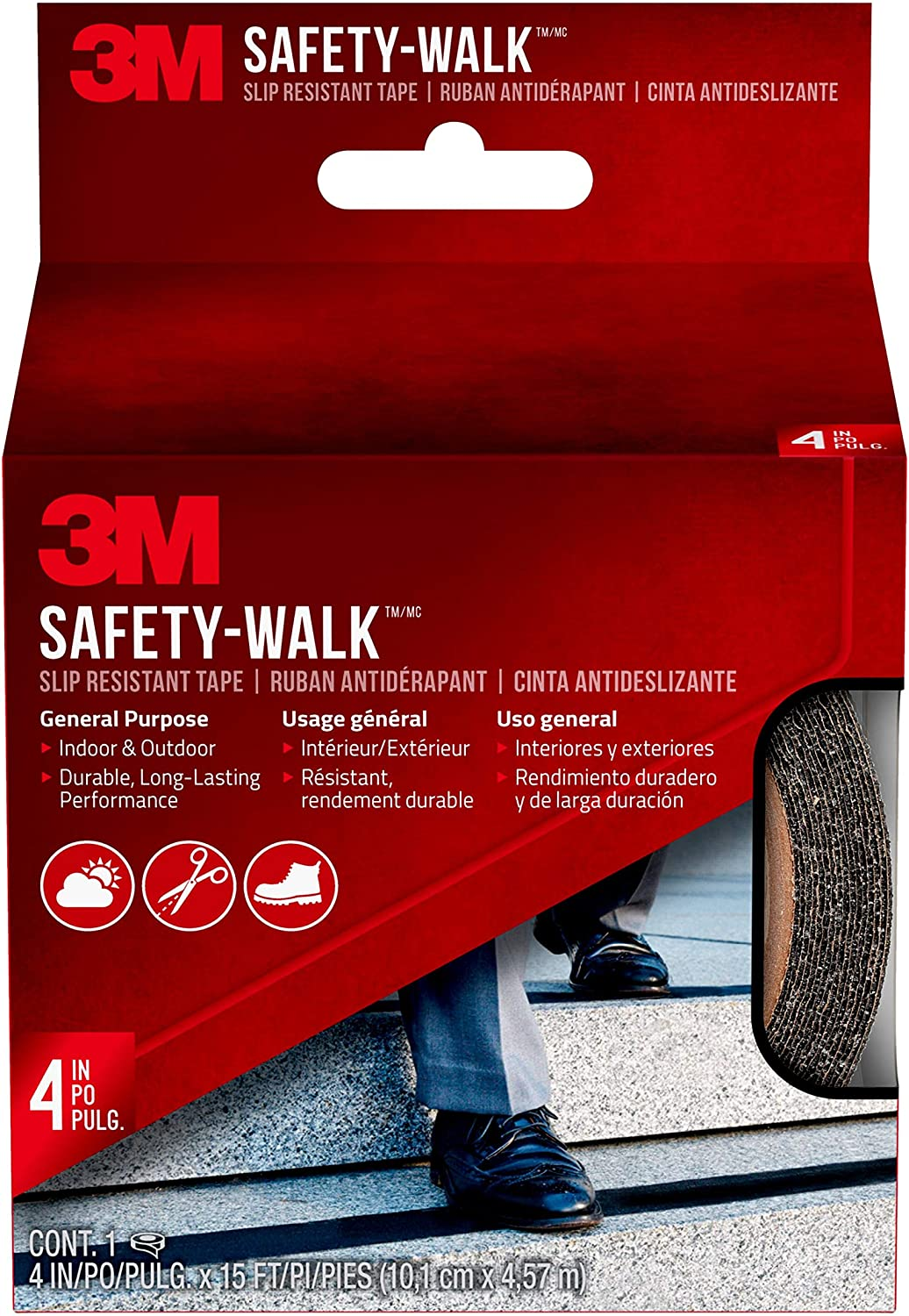 "3M Safety-Walk Slip Resistant Tape, Black, 610B-R4X180, 4"" x 15'"
