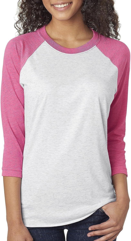 Next Level Unisex 3/4-Sleeve Raglan T-Shirt, Vintage Pink/HTHR Wht, Medium