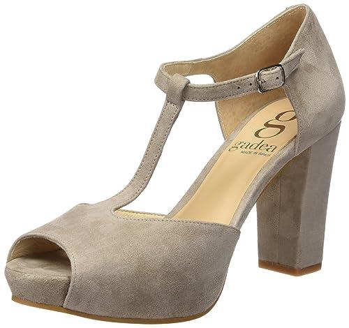 40932, Zapatos de Tacón con Punta Abierta para Mujer, Gris (Ante Stone Stone), 41 EU Gadea