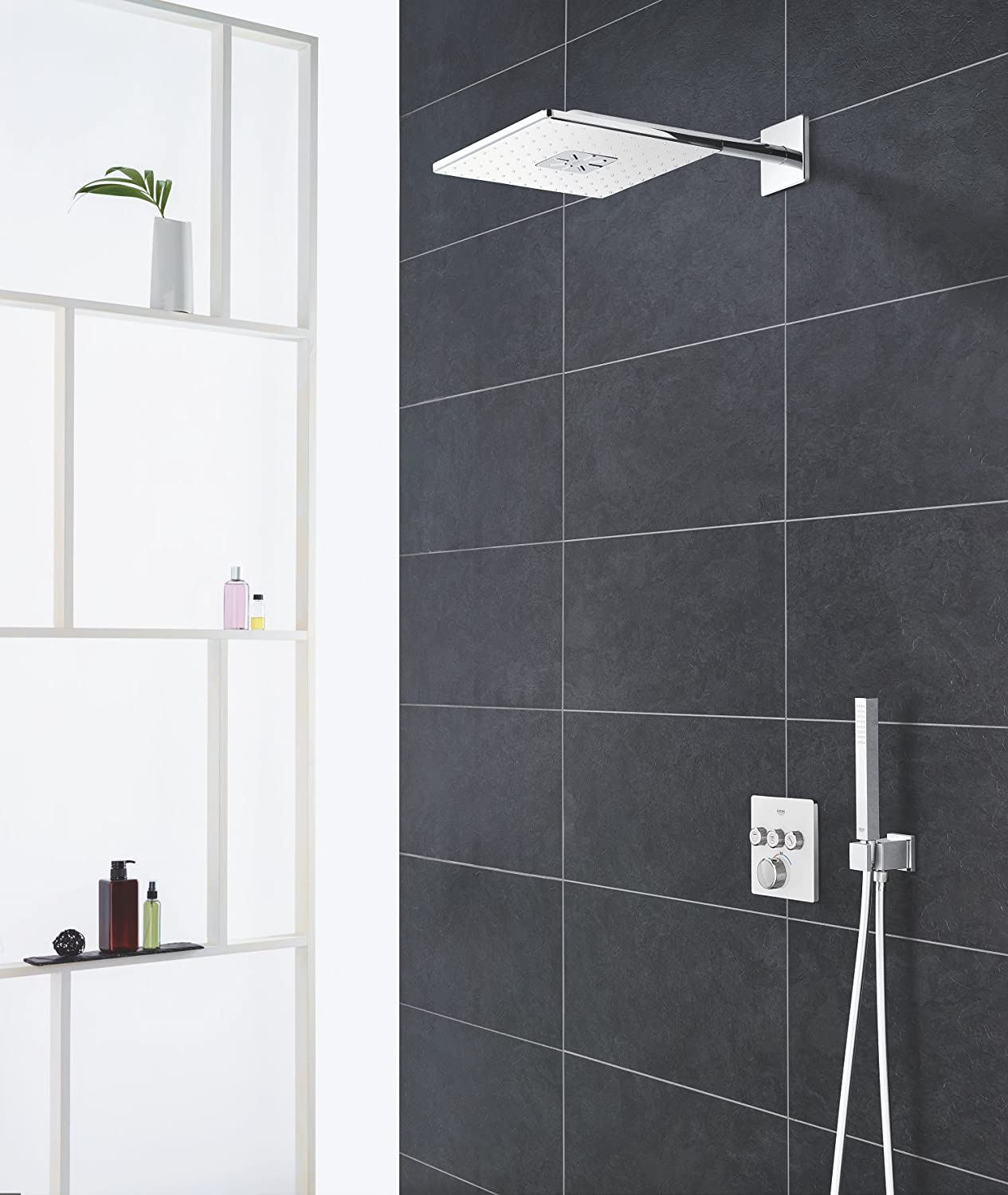 Chrome 400 mm GROHE Set Douche de t/ête Bras 2 Jets Rainshower 310 SmartActive Cube 26479LS0