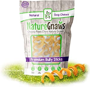 Nature Gnaws Bully Stick Springs for Dogs - Premium Natural Beef Bones - Long Lasting Spiral Dog Chew Treats - Rawhide Free - 7-10 Inch
